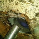 Another example of an exhaust fan duct that is not properly installed. Sadly an all too common occurrence.
